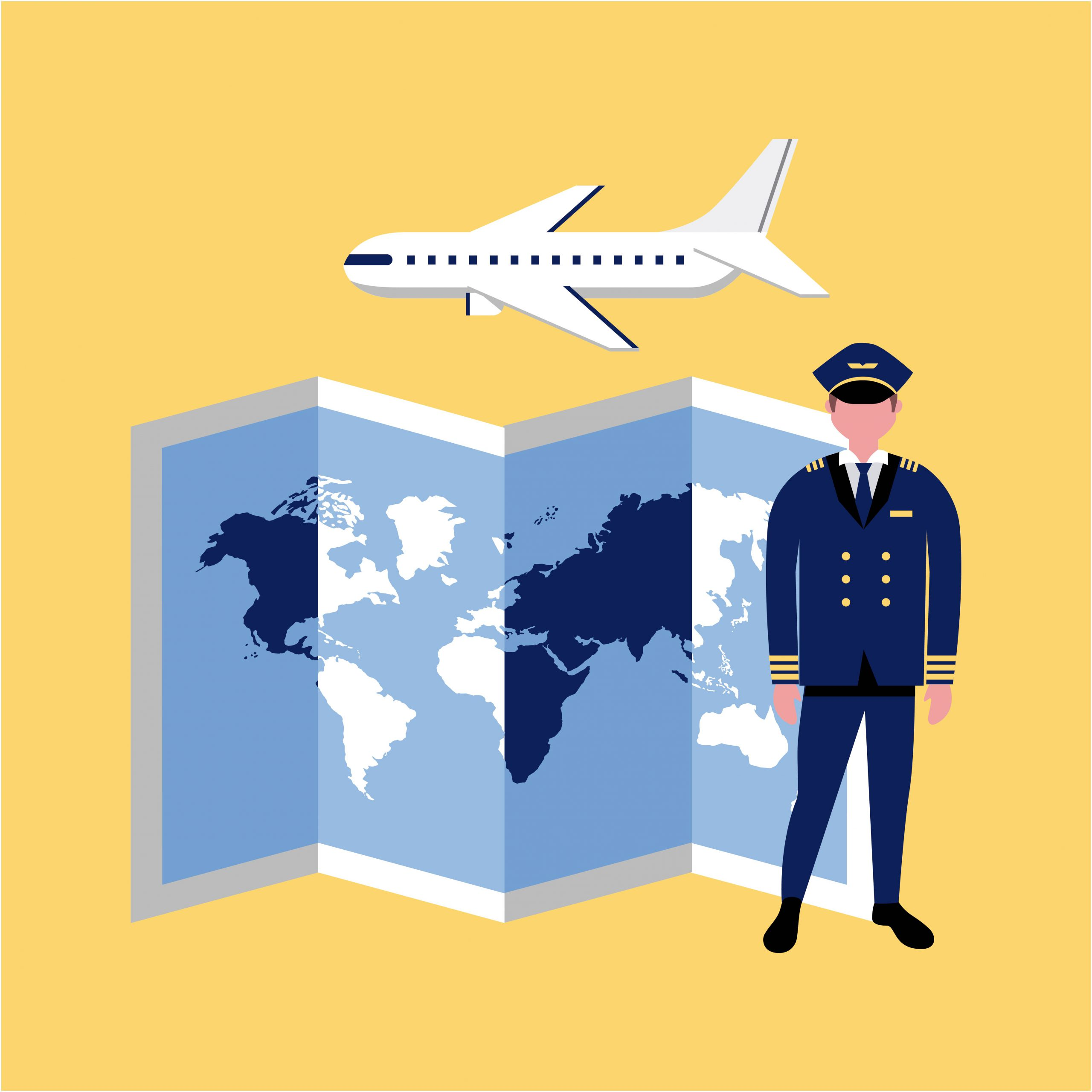 captain airplane map occupation professional vector illustration
